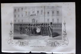 H. Tyrrell 1858 Antique Print. Her Majesty Taking Leave of the Fusilier Guards